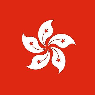 HONG KONG, Flag of Hong Kong, Hong Kong Flag. by TOMSREDBUBBLE