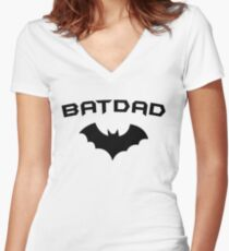 BATDAD - Proud Dad Father Super Dad Hero  Women's Fitted V-Neck T-Shirt