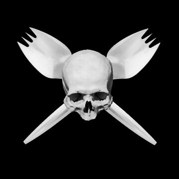 Skull and Crossed Sporks - WHITE by papaheck
