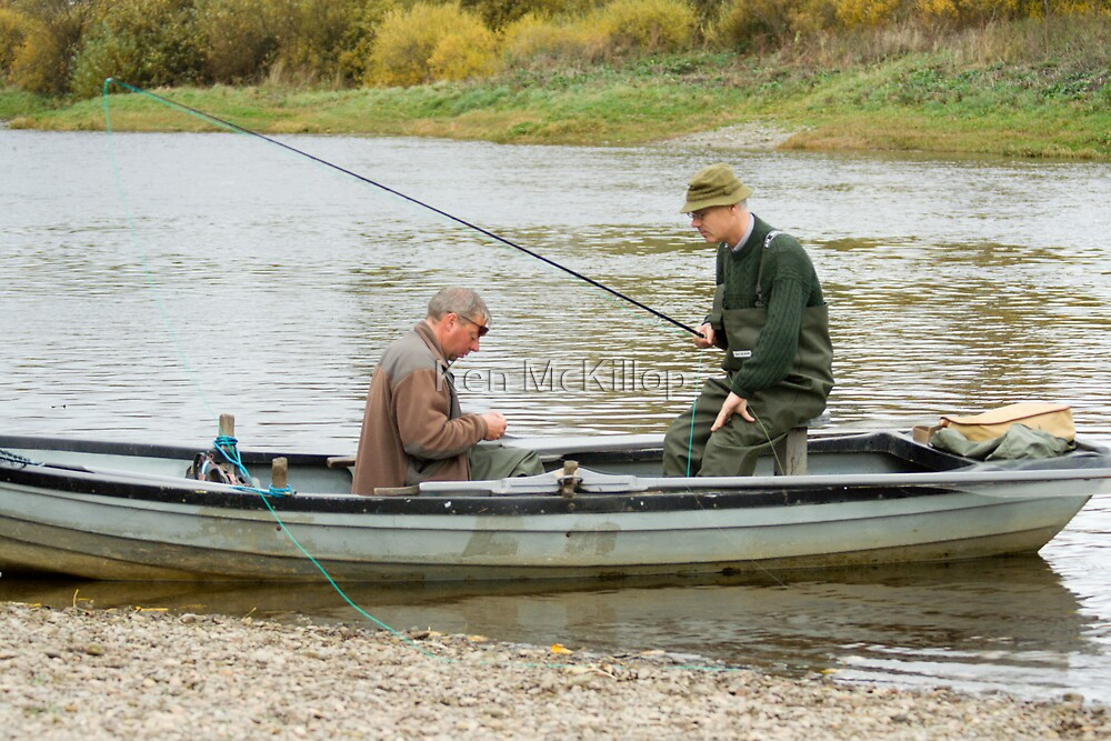 river tweed, fisherman, boat, Junction Pool by Ken McKillop