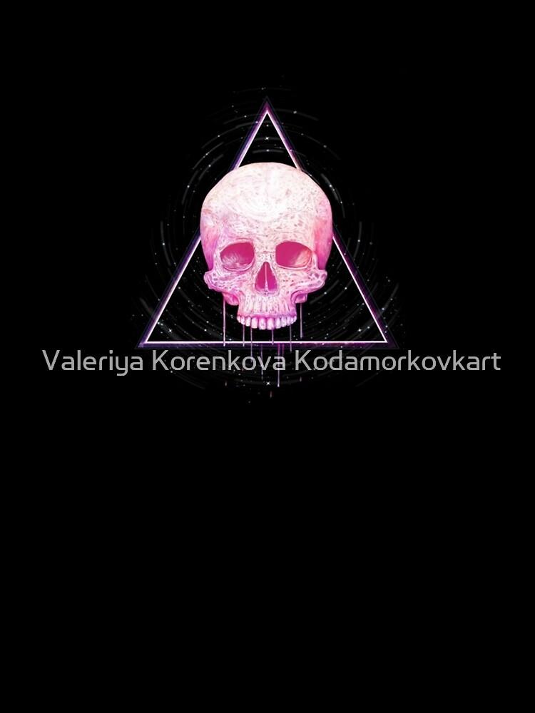Skull in triangle on black by kodamorkovkart