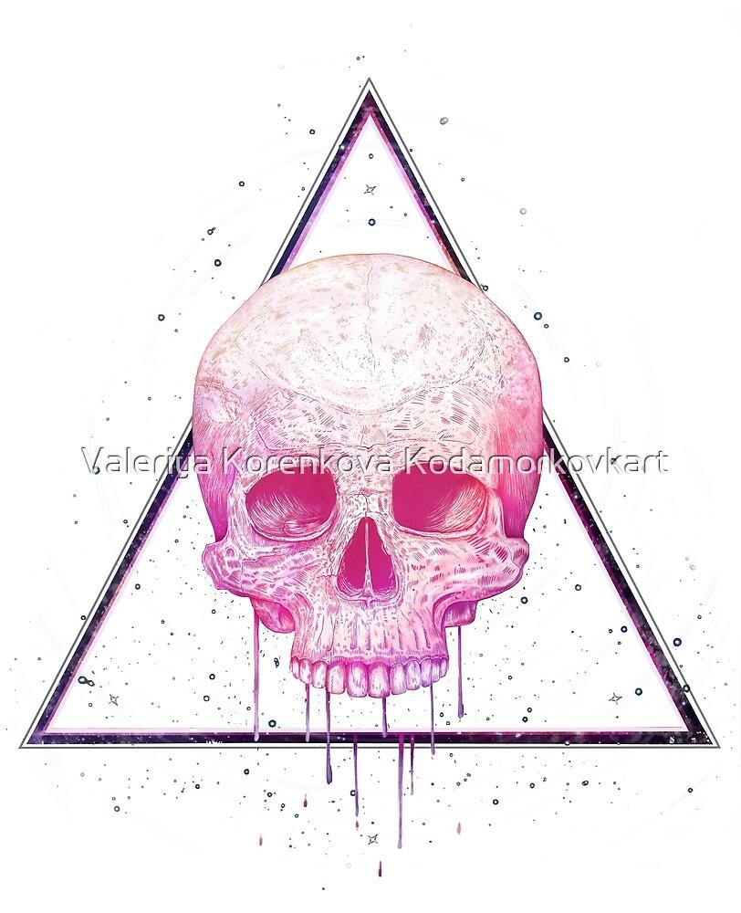 Skull in triangle on black by Valeriya Korenkova Kodamorkovkart