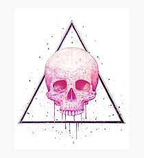 Skull in triangle on black Photographic Print