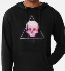 Skull in triangle on black Lightweight Hoodie