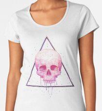 Skull in triangle on black Women's Premium T-Shirt