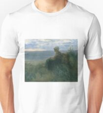 Jozef Israels - A Fishergirl On A Dune Top Overlooking The Sea Unisex T-Shirt