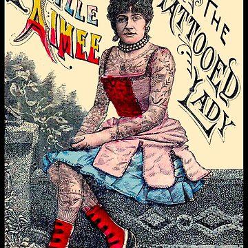 AIMEE: Tätowierte Lady Vintage Werbedruck von posterbobs