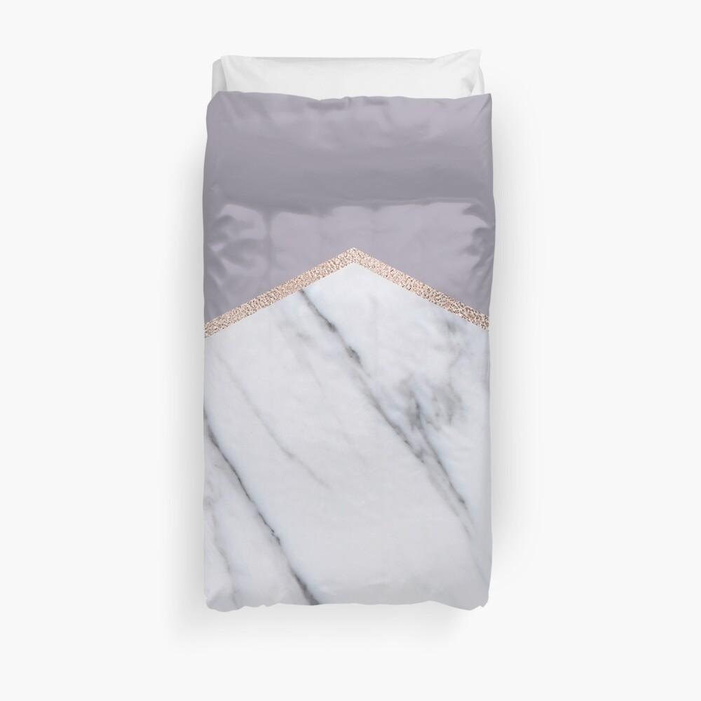 Smokey Flieder - Roségold geometrischen Marmor Bettbezug