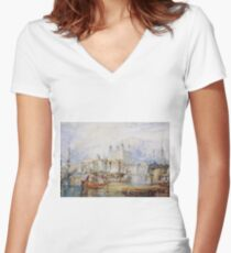 Joseph Mallord William Turner - The Tower Of London Women's Fitted V-Neck T-Shirt