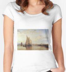 Joseph Mallord William Turner - Dort Or Dordrecht- The Dort Packet-Boat From Rotterdam Becalmed, 1818 Women's Fitted Scoop T-Shirt