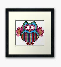 Cartoon funny ornate colourful owl Framed Print