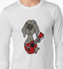Funny Cool Weimaraner Dog Playing Guitar T-Shirt