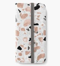 Classy rose gold vintage marble abstract terrazzo design iPhone Wallet