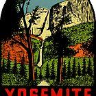 «Calcomanía de viaje vintage del Parque Nacional de las Cataratas de Yosemite» de hilda74