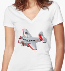 Cartoon Retro Airplane Women's Fitted V-Neck T-Shirt