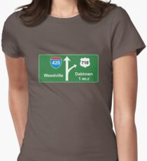 420 Weedville 710 Dabtown road sign Womens Fitted T-Shirt
