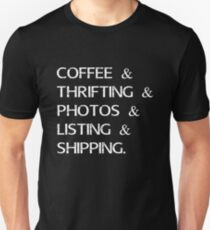 Coffee Reseller Process t shirt From Coffee To Shipping Unisex T-Shirt