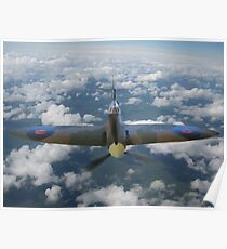 Spitfire Above the Clouds Poster