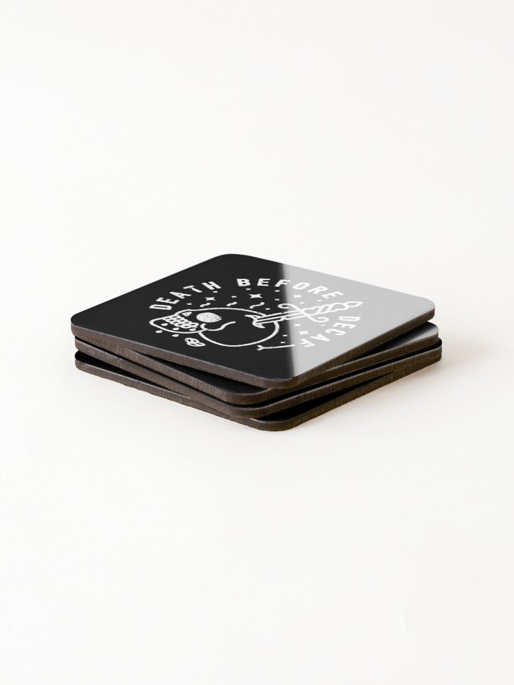 Alternate view of Death Before Decaf Coasters (Set of 4)