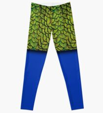 Bright Electric Blue Iridescent Peacock Feathers Texture Pattern Leggings