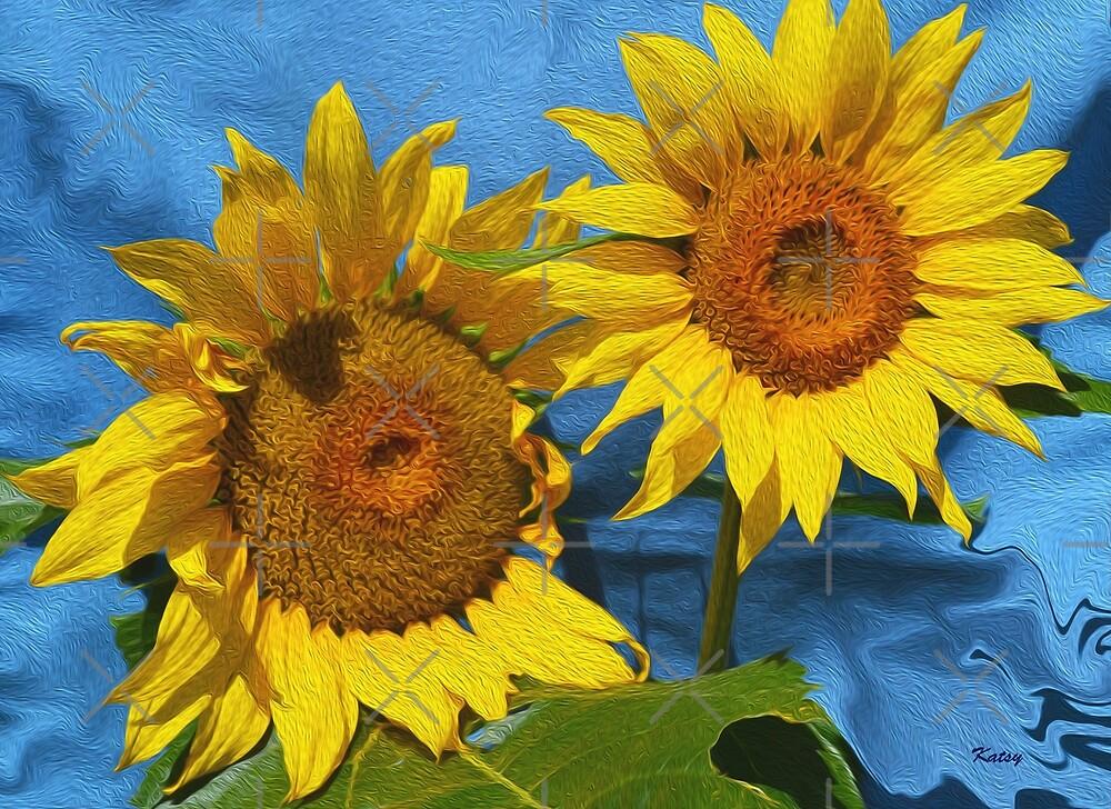 "Sunflowers, sunflower art, yellow flowers, ""Sunny Day"" by artbykatsy"