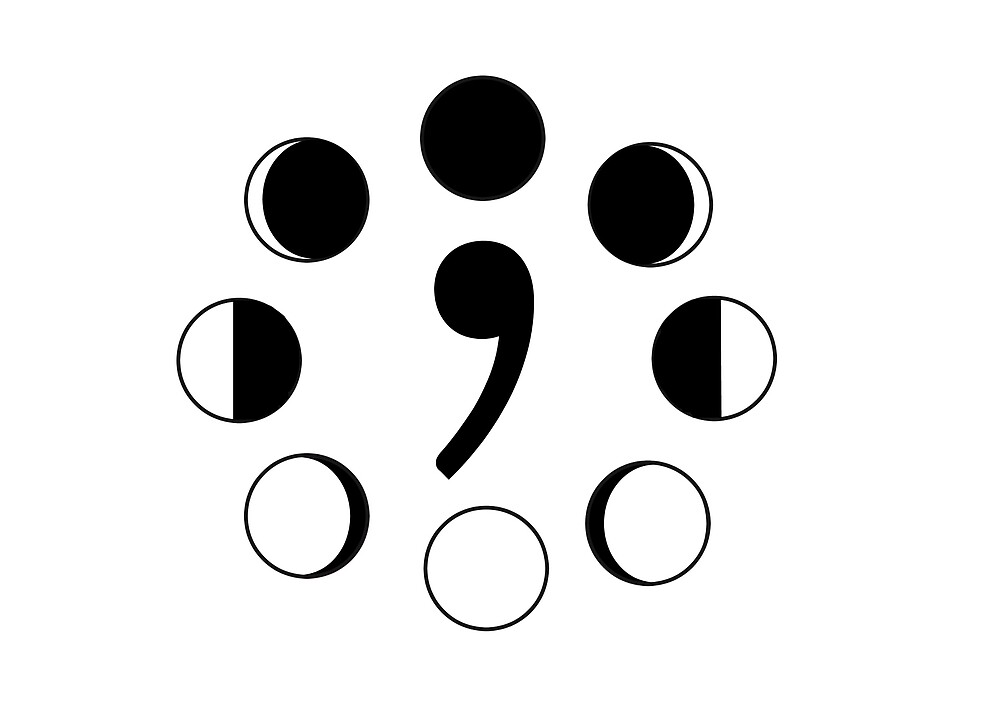 Semi Colon Project- Moon Phases by amwats