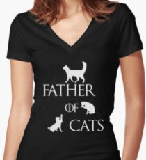 FATHER OF CATS Women's Fitted V-Neck T-Shirt
