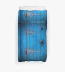 Traditional Aged Bright Blue Door in Tunisia with Iron Decorations Duvet Cover