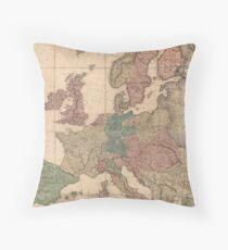 Vintage Antique Map of Europe UK Throw Pillow