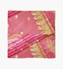 Cerise Pink Gold Asian Indian Sari Pattern Wedding Gown Scarf
