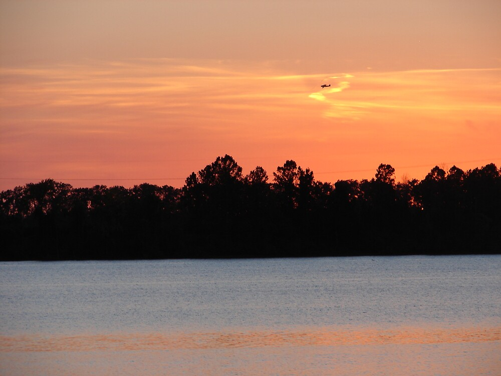 Airplane in Sunset at Creve Coeur Park by inventor