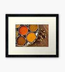 Bright Orange Yellow Asian Spices Silver Indian Spice Pots Framed Print