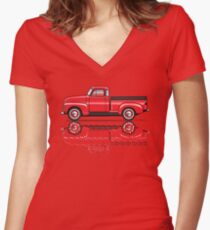 47-54 Red Women's Fitted V-Neck T-Shirt
