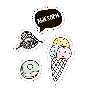 COOL lips,ice cream, donut by SolodkayaMarina