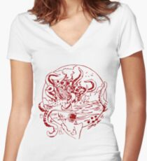 Giant Sea Monster Red | Myths and legends Women's Fitted V-Neck T-Shirt