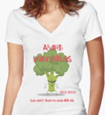 Brutal Broccoli Angry Vegetables - Eat Us If You Dare! Women's Fitted V-Neck T-Shirt
