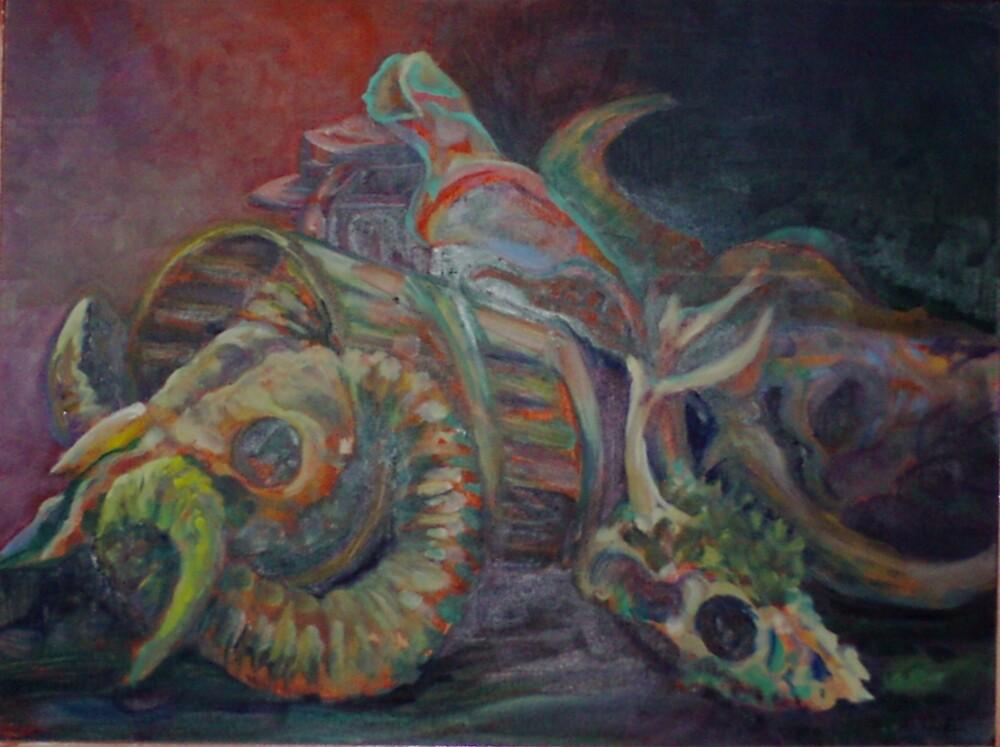 Three Skulls (Oils)- by Robert Dye