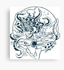 Giant Sea Monster Teal   Myths Canvas Print