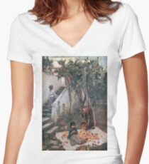 John William Waterhouse - The Orange Gatherers Women's Fitted V-Neck T-Shirt