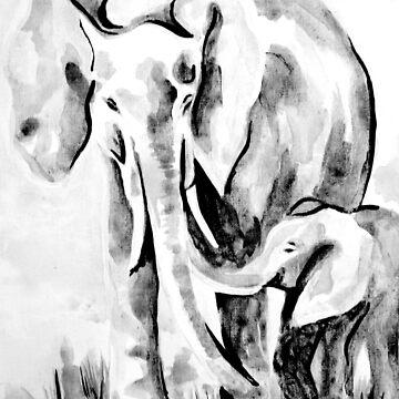 Elephant Eskimo Kiss Black and White by KateMarieLewis
