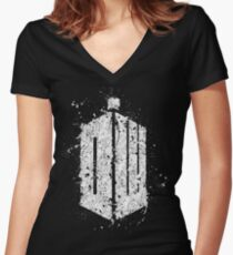 Dr. Who - Splatter art Women's Fitted V-Neck T-Shirt