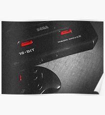 Mega Drive black & white Poster