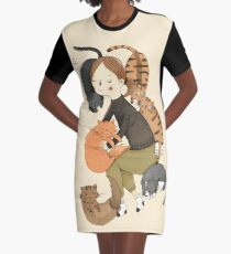 Cat Love Graphic T-Shirt Dress