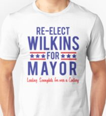 BUFFY The Vampire Slayer Re-Elect MAYOR WILKINS Scooby Gang Big Bad  T-Shirt