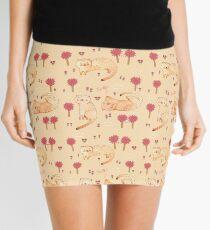 Orange Cat Pattern Mini Skirt