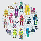 Robots in Space - grey - fun Robot pattern by Cecca Designs by Cecca-Designs