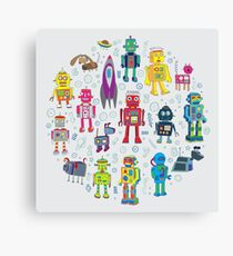 Robots in Space - grey - fun Robot pattern by Cecca Designs Canvas Print