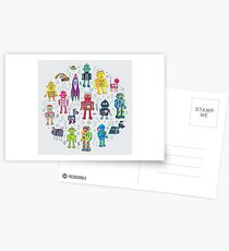Robots in Space - grey - fun Robot pattern by Cecca Designs Postcards