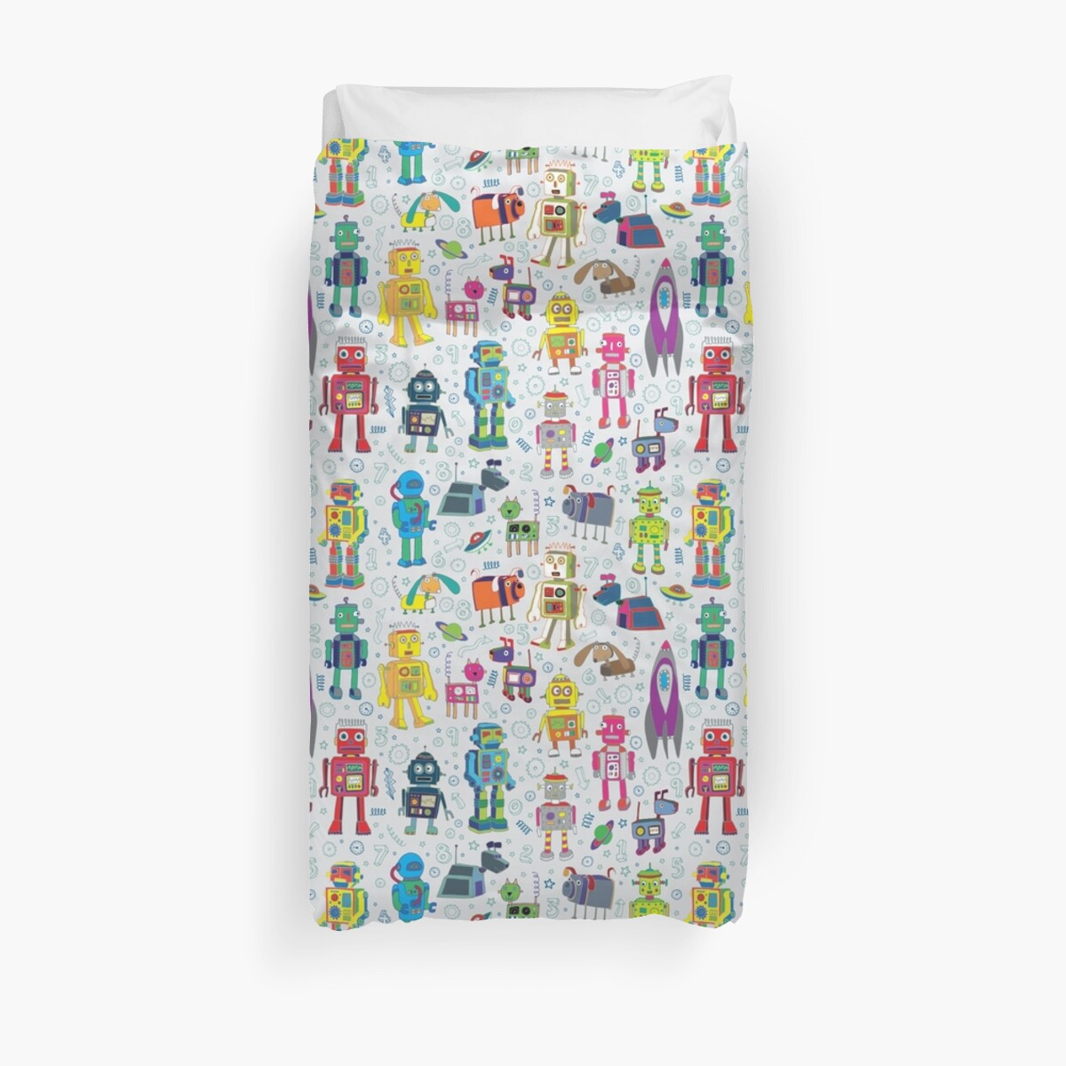 «Robots en el espacio - gris - diversión Robot pattern by Cecca Designs» de Cecca-Designs