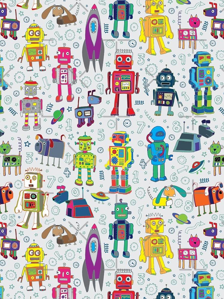 Roboter im Raum - grau - Spaß Robotermuster durch Cecca Designs von Cecca-Designs
